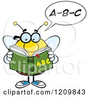 Cartoon Of A Talking Bee Student Reading An Alphabet Book Out Loud Royalty Free Vector Clipart by Hit Toon