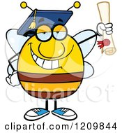 Cartoon Of A Happy Bee Student Graduate Hoding A Diploma Royalty Free Vector Clipart by Hit Toon