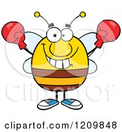 Cartoon Of A Happy Bee Holding Up Boxing Gloves Royalty Free Vector Clipart by Hit Toon