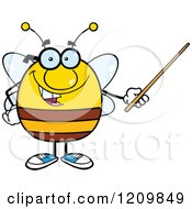 Cartoon Of A Happy Bee Teacher Using A Pointer Stick Royalty Free Vector Clipart