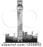 Baltimore Tower And Other Buildings Black And White Woodcut