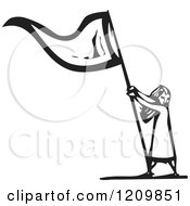 Clipart Of A Girl Waving A Flag Black And White Woodcut Royalty Free Vector Illustration