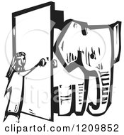 Clipart Of A Girl Opening A Door And Letting An Elephant In A Room Black And White Woodcut Royalty Free Vector Illustration by xunantunich