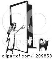 Clipart Of A Girl Opening A Door For Her Cats Black And White Woodcut Royalty Free Vector Illustration