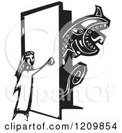 Girl Opening A Door For A Monster Black And White Woodcut