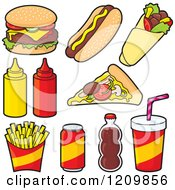Clipart Of Fast Food And Condiment Icons Royalty Free Vector Illustration