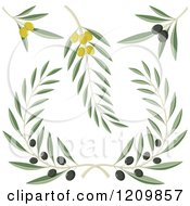 Clipart Of Black And Green Olive Branches Royalty Free Vector Illustration