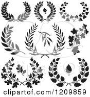 Clipart Of Black And White Floral Wreaths And Branches Royalty Free Vector Illustration