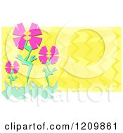 Pink Flowers Over Yellow Zig Zags