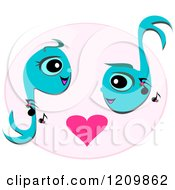 Cute Music Note Couple Over A Pink Heart