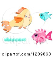 Yellow Blue And Pink Fish With Waves