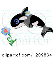 Cartoon Of Cute Orca Killer Whale With Flowers And Waves Royalty Free Vector Clipart by bpearth