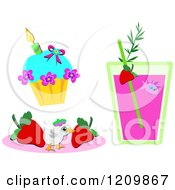 Cupcake Juice With A Fish And Chick With Strawberries