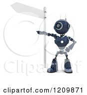 Clipart Of A 3d Blue Android Robot Giving Directions Under A Street Sign Royalty Free CGI Illustration by KJ Pargeter