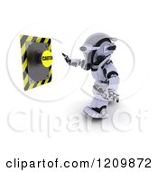 Clipart Of A 3d Robot Reaching Out To Push A Caution Button Royalty Free CGI Illustration