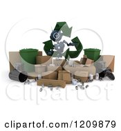Clipart Of A 3d Blue Android Robot With Recycle Items And Arrows Royalty Free CGI Illustration