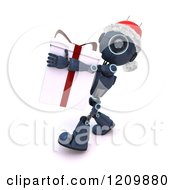Clipart Of A 3d Blue Android Robot Santa Carrying A Gift Box Royalty Free CGI Illustration