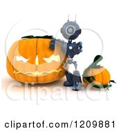 3d Blue Android Robot Leaning On A Giant Halloween Jackolantern Pumpkin