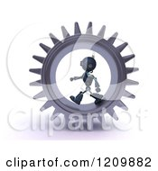 Clipart Of A 3d Blue Android Robot Walking In A Gear Royalty Free CGI Illustration