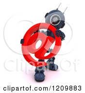 3d Blue Android Robot Holding An Arobase Email Symbol