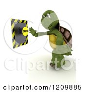 Clipart Of A 3d Tortoise Reaching Out To Push A Caution Button Royalty Free CGI Illustration