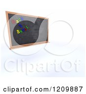 Clipart Of A 3d Back 2 Skool Black Board Royalty Free CGI Illustration