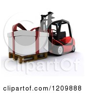 Clipart Of A 3d Christmas Delivery Gift Present On A Red Forklift 2 Royalty Free CGI Illustration