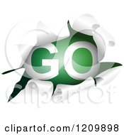 Clipart Of A Go Sign Through A Ripped Hole Royalty Free Vector Illustration