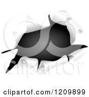 Clipart Of Black Through A Ripped Hole Royalty Free Vector Illustration