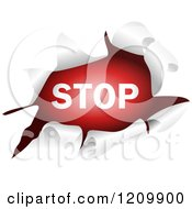 Clipart Of A Stop Sign Through A Ripped Hole Royalty Free Vector Illustration