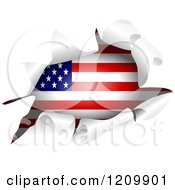 Clipart Of An American Flag Through A Ripped Hole Royalty Free Vector Illustration by Prawny