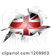 Clipart Of A British Flag Through A Ripped Hole Royalty Free Vector Illustration