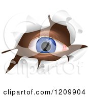 Clipart Of A Blue Eye Looking Through A Ripped Hole Royalty Free Vector Illustration by Prawny