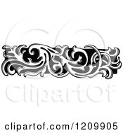 Clipart Of A Black And White Floral Page Border Rule 2 Royalty Free Vector Illustration