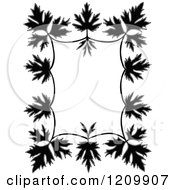 Clipart Of A Black And White Border Of Leaves Royalty Free Vector Illustration