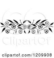 Clipart Of A Black And White Floral Page Border Rule Royalty Free Vector Illustration