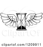 Clipart Of A Black And White Time Flies Hour Glass Royalty Free Vector Illustration