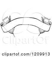 Clipart Of A Black And White Arched Banner With Flowers Royalty Free Vector Illustration