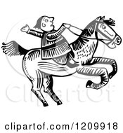 Black And White Man Riding A Horse