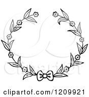 Clipart Of A Black And White Flower Wreath With A Bow 2 Royalty Free Vector Illustration