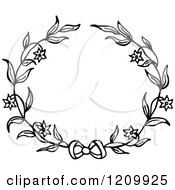 Clipart Of A Black And White Flower Wreath With A Bow Royalty Free Vector Illustration