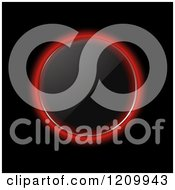 Clipart Of A Reflective Glowing Red Neon Glass Circle On Black Royalty Free Vector Illustration