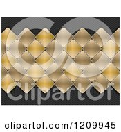 Clipart Of A Background Of 3d Brushed Gold Metal Diamond Mosaic Tiles Over Carbon Fiber Royalty Free Vector Illustration