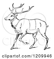 Clipart Of A Black And White Deer With Butcher Sections Of Venison Cuts Royalty Free Vector Illustration
