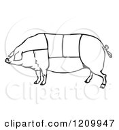 Clipart Of A Black And White Pig With Butcher Sections Of Meat Cuts Royalty Free Vector Illustration