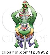 Cartoon Of A Sword Swallowing Zombie Royalty Free Vector Clipart by Zooco
