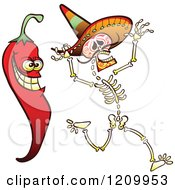 Cartoon Of A Hot Chili Pepper Scaring A Mexican Skeleton Royalty Free Vector Clipart by Zooco