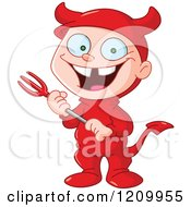 Grinning Boy In A Devil Halloween Costume