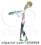 Cartoon Of A Walking Zombie Royalty Free Vector Clipart