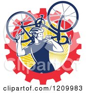 Clipart Of A Retro Male Cyclist Carrying A Bicycle Over A Gear And Sun Circle Royalty Free Vector Illustration